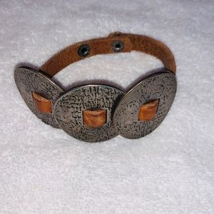 Jewelry - Leather and Hammered Metal Skinny Cuff Bracelet